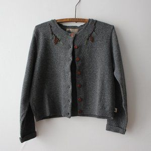 Vintage Gray Embroidery Wool Cardigan